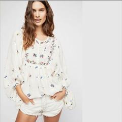 NWT FREE PEOPLE Kiss From A Rose Tunic Top Ivory MEDIUM M $148...