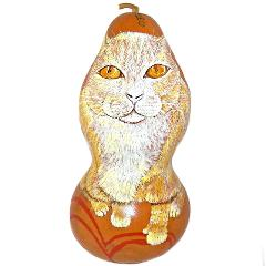 Buddy the Cat Folk Art Carved Gourd Hand Painted Artist Signed...