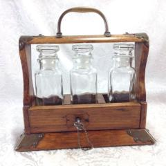 Antique 3 Bottle Tantalus Locking Liquor Box Cordial Decanter ...