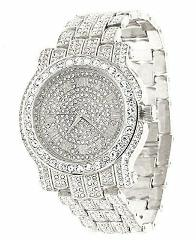 Techno Pave Totally Iced Out Pave Silver Tone Hip Hop Men's Bl...