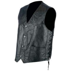 Rocky Ranch Hides Mens Large Leather Biker Vest Rock Design Ge...