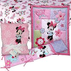 Minnie Mouse Infant Baby Crib Bedding Set with Bumper and Blanket