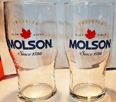 Molson Imported Beer Biere 16 oz Tulip Style Glassware Set of 2