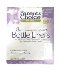 Parent's Choice 225 Pre-Sterilized Disposable Liners 8 Oz Bott...