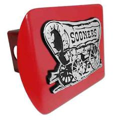 Oklahoma (Sooner Schooner) ALL METAL Crimson Hitch Cover
