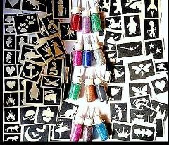 GLITTER TATTOO KIT boys and girls VALUE 74 stencils 12 puffers...