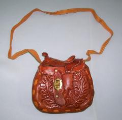 Med TAN SADDLE HANDBAG COWGIRL LEATHER PURSE WOMAN WESTERN Pur...