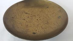 China Marked Brass Bowl Engraved Man and Garden Chinese Markin...