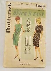 Shift Dress Shallow Neckline Two Styles Butterick Vintage Patt...
