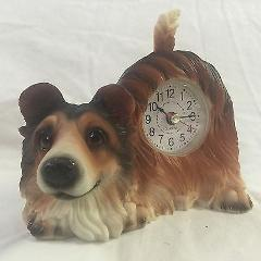 BACK TO SCHOOL SALE Critter Clock Collie Tabletop Wagging Tail...