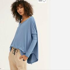 Free People NWT Moonshine V Neck Knit Thermal Top Blue Tunic L...