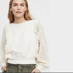 NWT FREE PEOPLE Faff & Fringe Pullover Large L Cream $108 FP N...