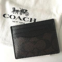 Coach Leather Card Case ID F58110 Mahogany Brown Signature wit...