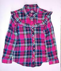 Wonder Nation Girls Fuschia Burst Long Sleeve Plaid Shirt Size...