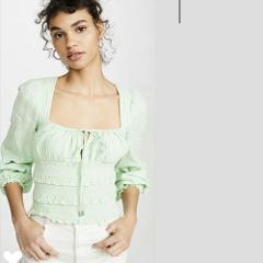 Free People NWT Lolita textured cotton top blouse Queen Green ...