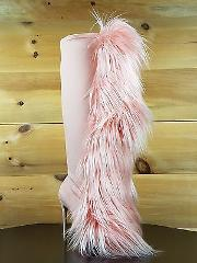 Nelly B Bank Roll Pink Blush Stretch Furry Pom Pom Knee Boot 5...