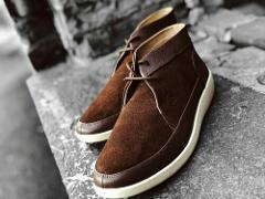 Johnny Famous Bally Style Central Park Men's Brown Suede Chukk...