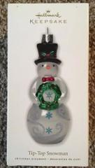 Hallmark Keepsake 2010 Tip top Snowman Glass Christmas Ornamen...