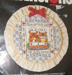 Daily Bread Hoop Crewel Bears Give Us This Day Dimensions 1985...