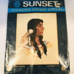 Vintage Indian Princess Counted Cross Stitch Kit Sunset NIP 11...
