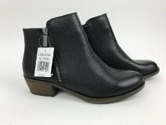 New KENSIE Ghita Black LEATHER Ankle Zip Boots Casual 6.5 7 7....