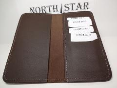 North Star Brown Premium Leather 4+ Slot C.Card Checkbook Cove...
