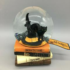Halloween Musical Snow Globe Black Cat Witch Hat Spell Books W...