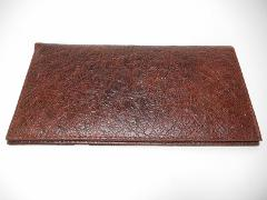 Marshal Ostrich Pattern Leather Padded Checkbook Cover-1 Card-...