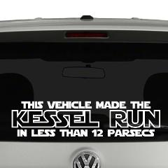 This Vehicle Made The Kessel Run Star Wars Vinyl Decal Sticker