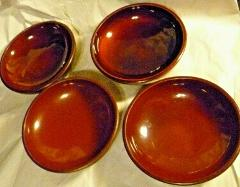 6 Japan Red & Black Lacquered Hand Painted Wood Footed Bowls 5...
