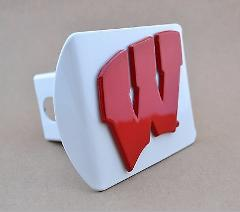 Wisconsin Red Badgers White Hitch Cover