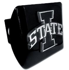 Iowa State Emblem on Black Metal Hitch Cover