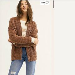Free People High Hopes Cardi Mariposa Brown Combo Cardigan Lar...