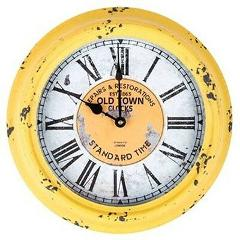 Gorgeous Antique Yellow Round Old Town Metal Wall Clock. Home ...