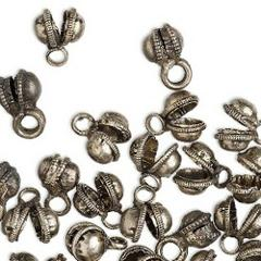 100 Antique SILVER Clapperless BELLS Belly Dancer BRASS Base 8...