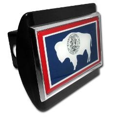 Wyoming Flag Black Hitch Cover
