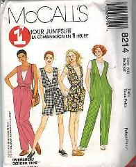 8214 McCalls SEWING Pattern Misses 1 HOUR EASY Jumpsuit Pants ...