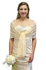 BRIDAL WRAP CHAMPAGNE, LACE BRIDAL SHAWL, WEDDING WRAP, PROM S...
