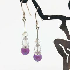 Sterling Silver Crystal & Iridescent Purple Bead Earrings