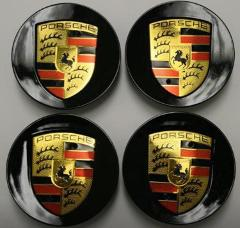 Gloss Black Porsche 76mm Wheel Centre Caps x4 for Boxster 911 ...