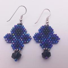 Blue, Purple Iris & Black Beadwork Earrings