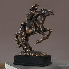 Western Cowboy Bronze Sculpture Horse Small Rodeo Rider Art Ex...