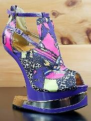 Mona Mia Aymor Purple Satin Multi Color Heel Less Open Toe Wed...
