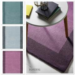 Origin Borders Contemporary Hand Tufted Wool Rug , Purple, Duc...
