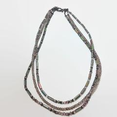 Gray Iris Tube & Round Bead Multi-Strand Necklace With Silver ...