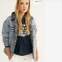 Free People NWT We The Free Wild Ones Sherpa Trucker Jacket XS...