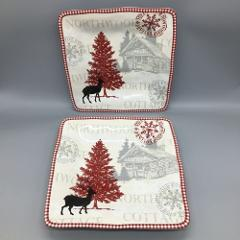 x2 222 Fifth Northwood Cottage Dinner Plate Set Square White R...
