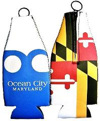 Maryland Flag Ocean City Blue wave Double Sided Bottle Koozie