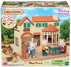 Calico Critters Set Village Pizzeria Mini Pizza Oven 30+ pcs G...