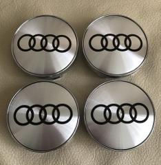 60mm Silver Audi Alloy Wheel Centre Hub Caps Set for A3 A4 A5 ...